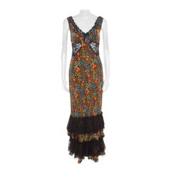 Multicolor Floral Print Silk Sheer Lace Insert Sleeveless Maxi Dress M