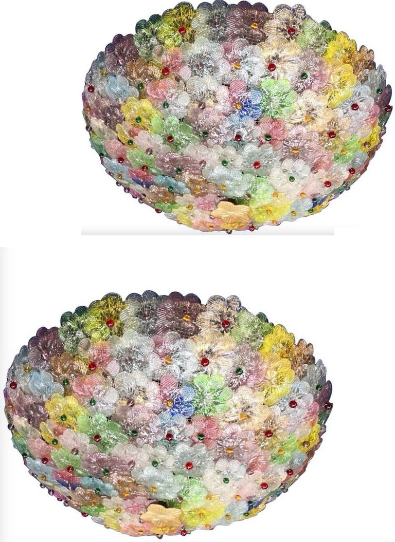 Mid-20th Century Multicolor Flowers Basket Murano Glass Ceiling Light For Sale