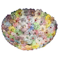 Multicolor Flowers Basket Murano Glass Ceiling Light