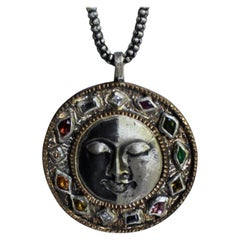 Multicolor Gemstone and Diamond Moon Face Necklace by Franny E