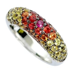 Multicolor Gemstone Band Ring in White Gold