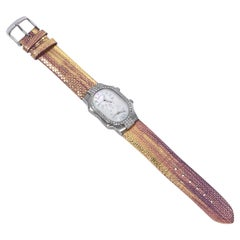 Multicolor Iridescent Philip Stein Dual Face Embossed Leather Watch