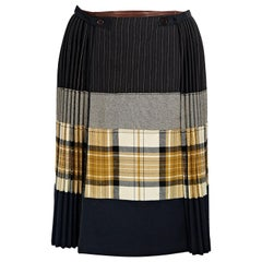 Multicolor Jean Paul Gaultier Pleated Wool Skirt