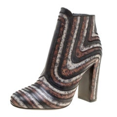 Multicolor Leather Feeling Zig Zag Block Heel Ankle Boots Size 38.5