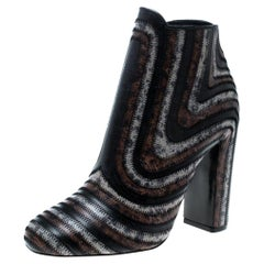 Multicolor Leather Feeling Zig Zag Block Heel Ankle Boots Size 39.5
