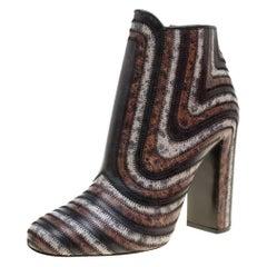 Multicolor Leather Feeling Zig Zag Block Heel Ankle Boots Size 40.5