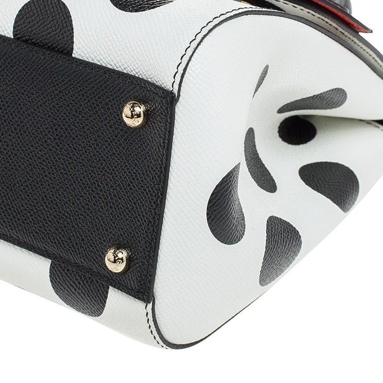 Multicolor Leather Polka Dot and Rose Patch Medium Miss Sicily Bag For Sale 6