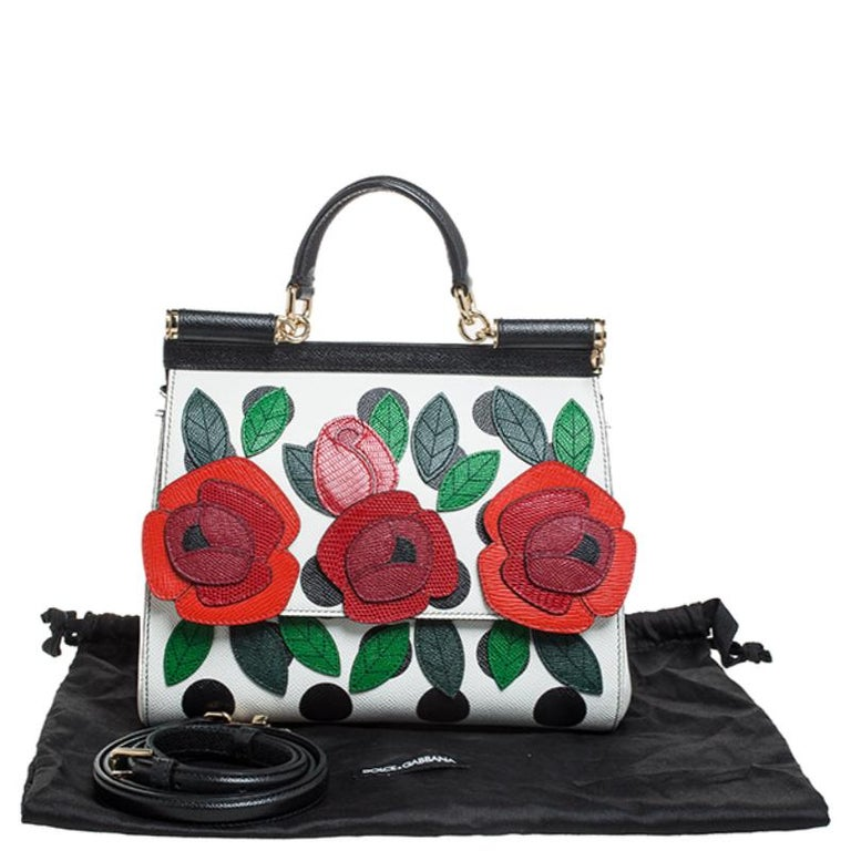Multicolor Leather Polka Dot and Rose Patch Medium Miss Sicily Bag For Sale 8