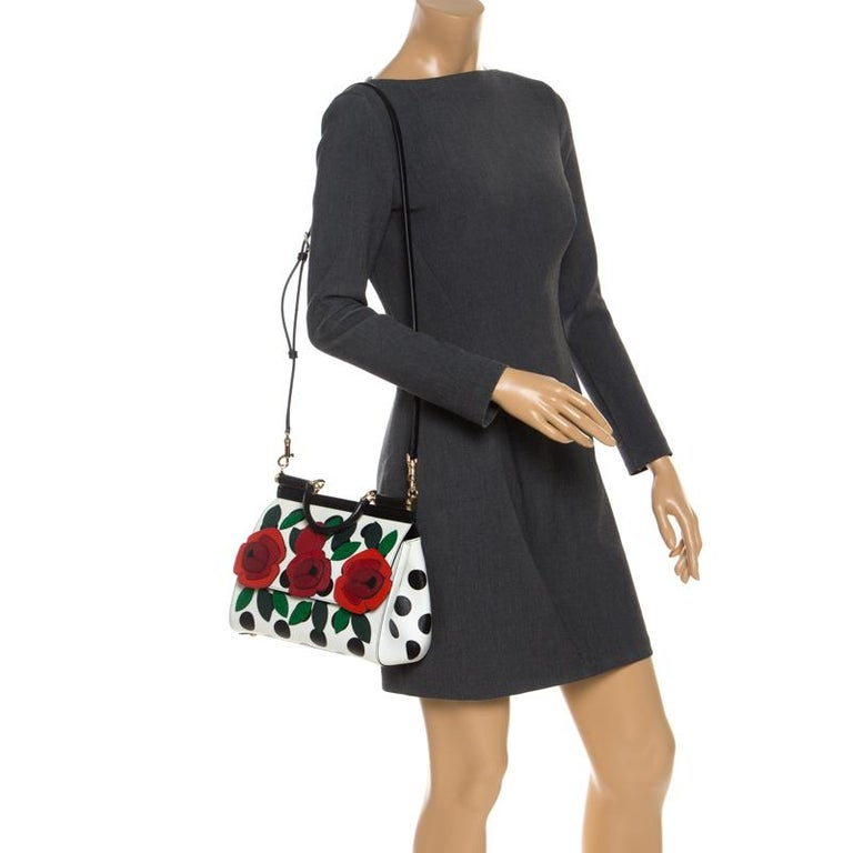 Multicolor Leather Polka Dot and Rose Patch Medium Miss Sicily Bag In New Condition For Sale In Dubai, Al Qouz 2