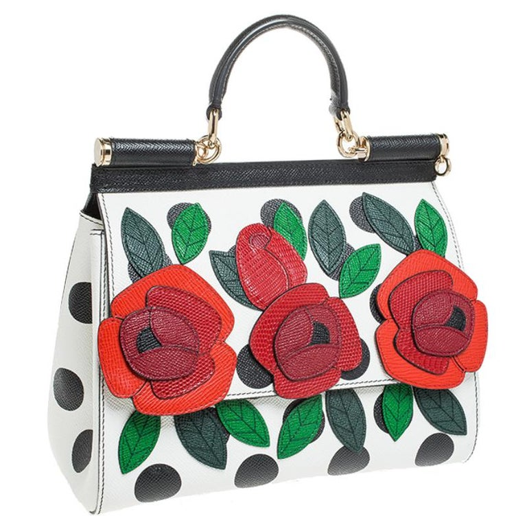 Women's Multicolor Leather Polka Dot and Rose Patch Medium Miss Sicily Bag For Sale