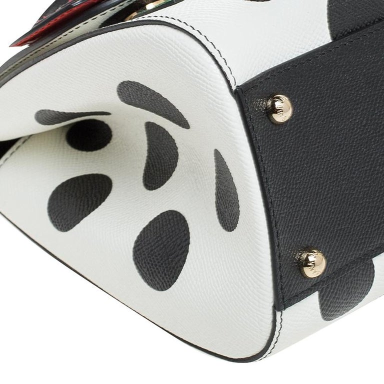 Multicolor Leather Polka Dot and Rose Patch Medium Miss Sicily Bag For Sale 5