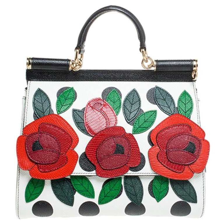 Multicolor Leather Polka Dot and Rose Patch Medium Miss Sicily Bag For Sale