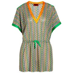 Multicolor MISSONI Chevron Crochet Knit Kaftan Tunic Cover Up Dress