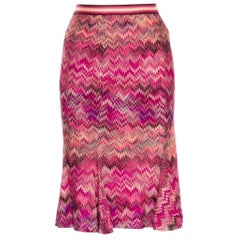 Beautiful MISSONI Multicolor & Pinks  Zigzag Knit Skirt