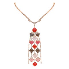 Multicolor Moonstone Necklace in 18 Karat Gold with Diamond & Pearls