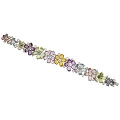 Multi-Color Pastel Rosecut Sapphire and White Diamonds Cuff Bracelet