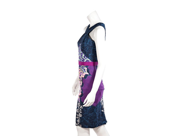 Product details:  Multicolor mixed print sheath dress by Peter Pilotto.  Halter-style neck.  Sleeveless.  Banded waist.  Concealed back zip closure.  Back center hem vent.  34