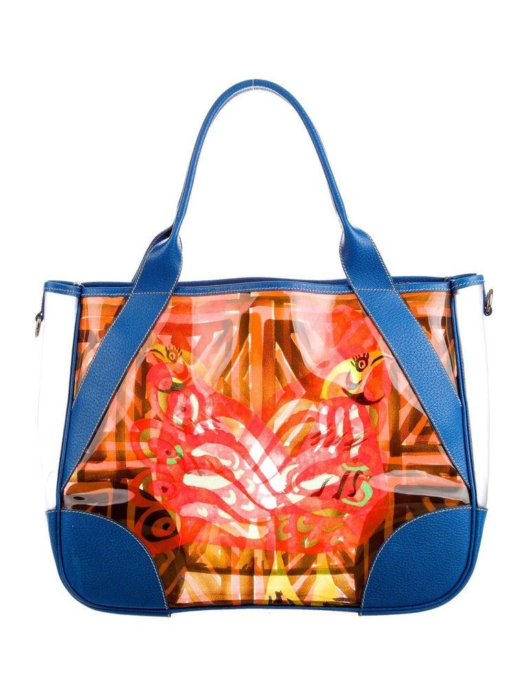 Orange Multicolor Prada Printed PVC Vinyl Beach Bag Tote with Leather Trimming For Sale