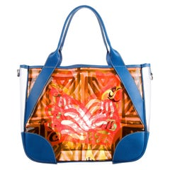 Multicolor Prada Printed PVC Vinyl Beach Bag Tote with Leather Trimming