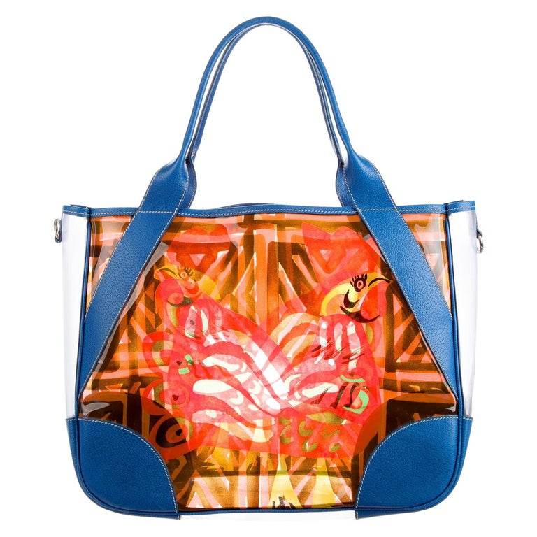 Multicolor Prada Printed PVC Vinyl Beach Bag Tote with Leather Trimming For Sale