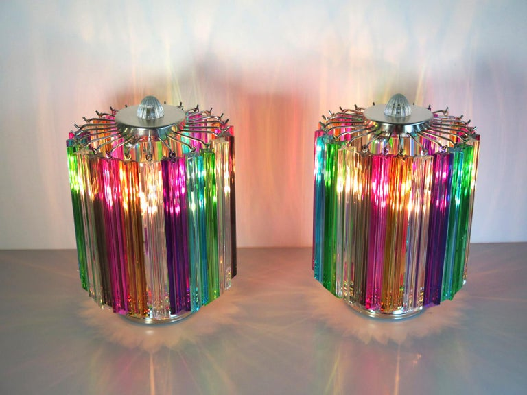 Magnificent pair of table lamps, 24 Quadriedri Murano crystal multicolored prism for each lamp. Nickel metal frame. Elegant object of furniture. Period: Late 20th century Dimensions: 15 inches (38 cm) height, 10.50 inches (27 cm)