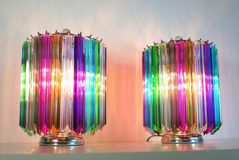 Blown Glass Multicolor Quadriedri Table Lamp, Mariangela Model For Sale