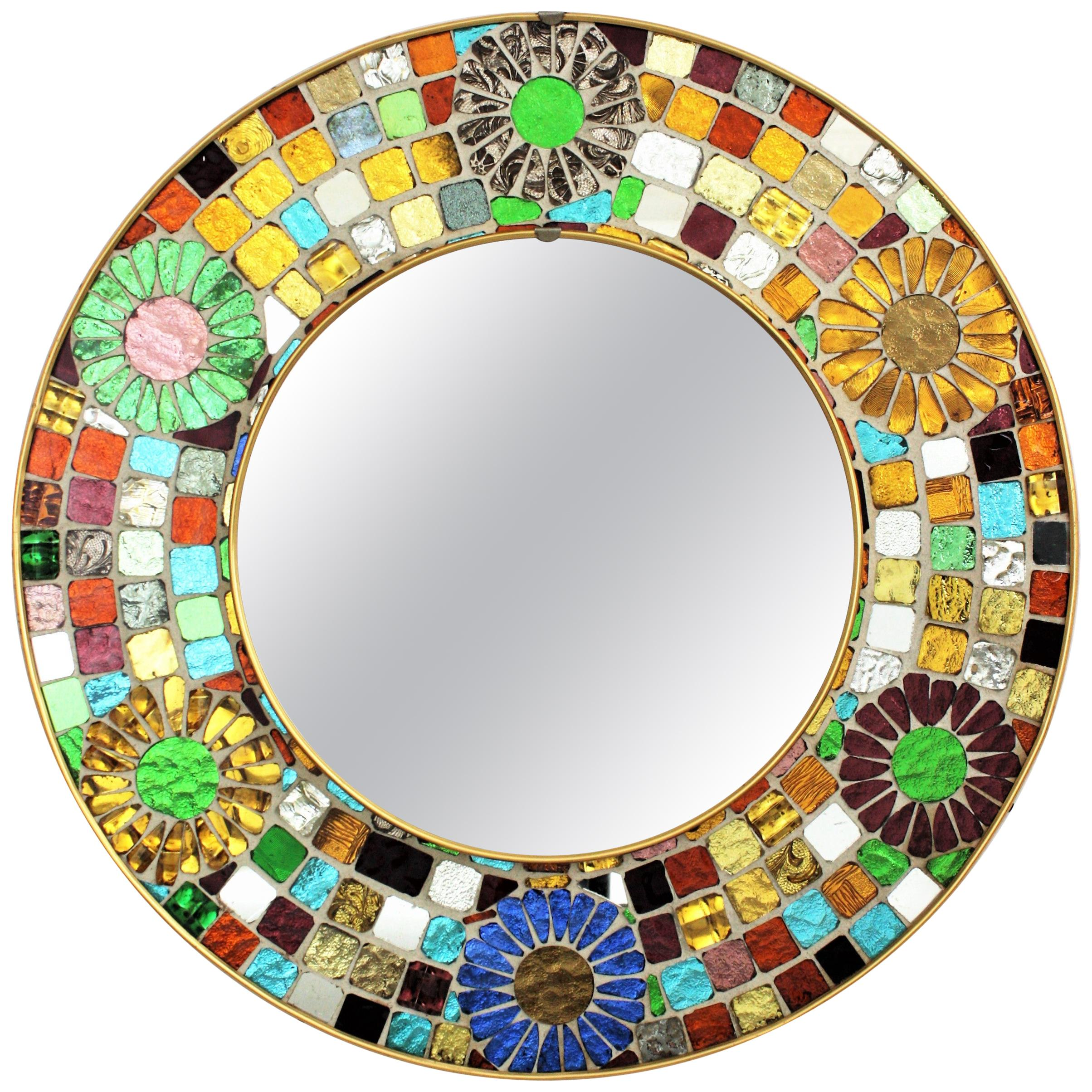 Multicolor Round Wall Mirror with Glass Mosaic Frame and Flower Accents