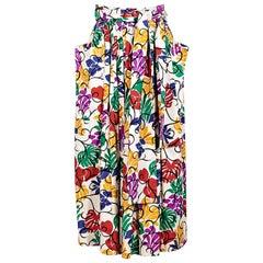 Multicolor Saint Laurent Rive Gauche Floral-Printed Midi Skirt