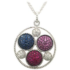 Multicolor Sapphire and Ruby Multistrand Circle White Gold  Pendent
