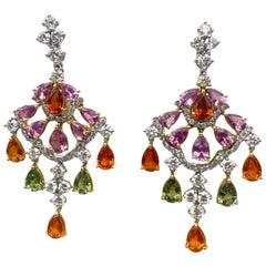 Multicolor Sapphires Earrings 10.50 Carats With Diamonds 3 Carats F/VS 18K Gold