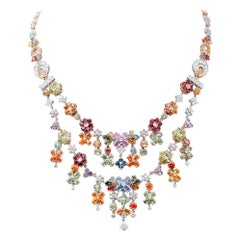 Multicolor Sapphires, Peridots, Tanzanites, Garnets, Diamonds 14kt Gold Necklace