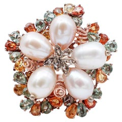 Multicolor Sapphires, Diamonds, Pearls, 9 Karat Rose Gold and Silver Ring