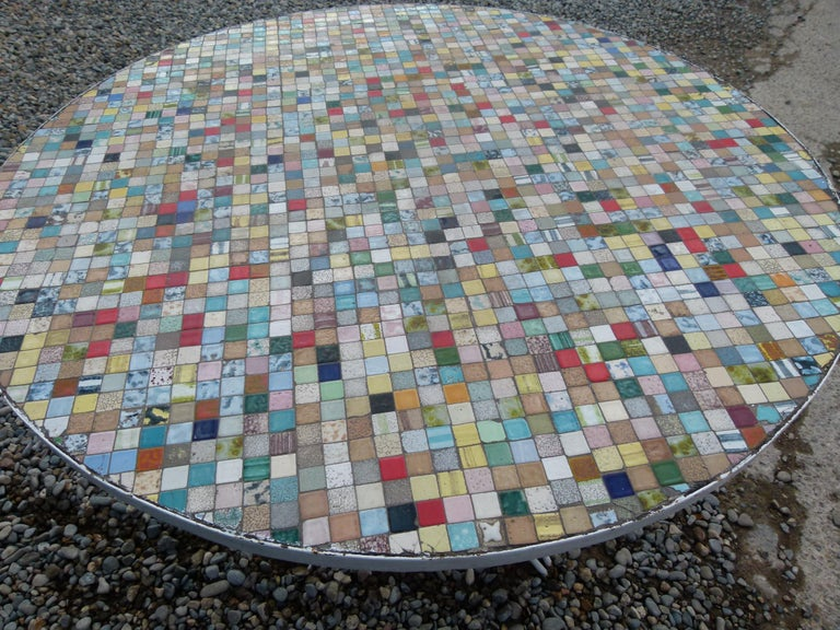 Other Multi-Color Spanish Round Ceramic Tile Garden Table with Iron Base For Sale