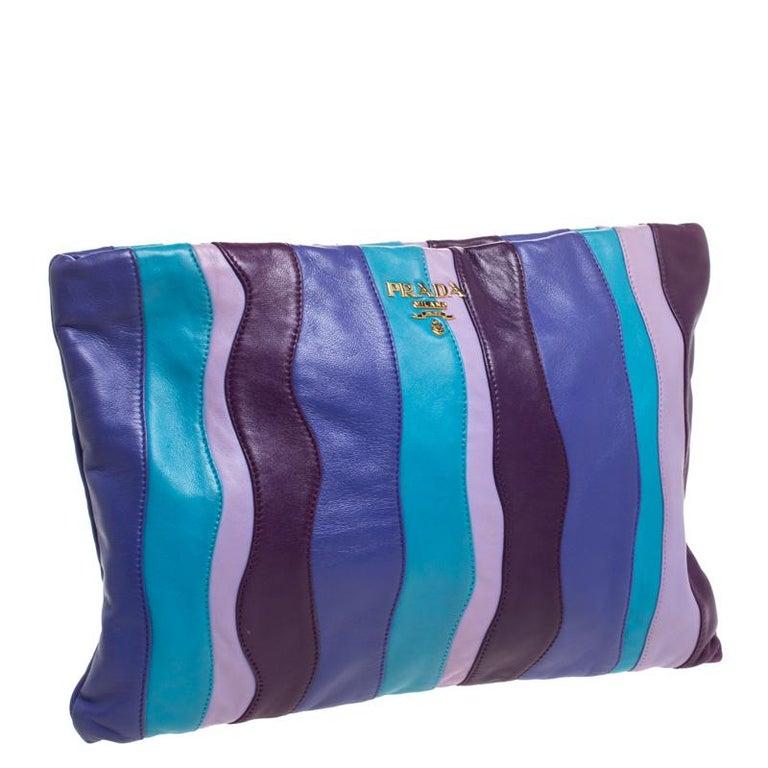 Multicolor Stripes Leather Zip Clutch For Sale 6