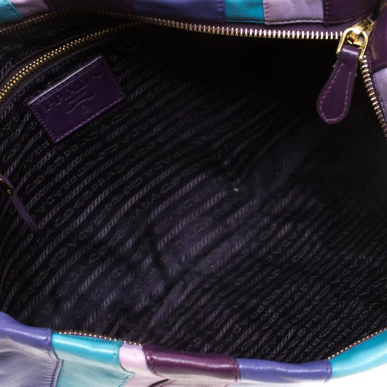 Multicolor Stripes Leather Zip Clutch For Sale 3