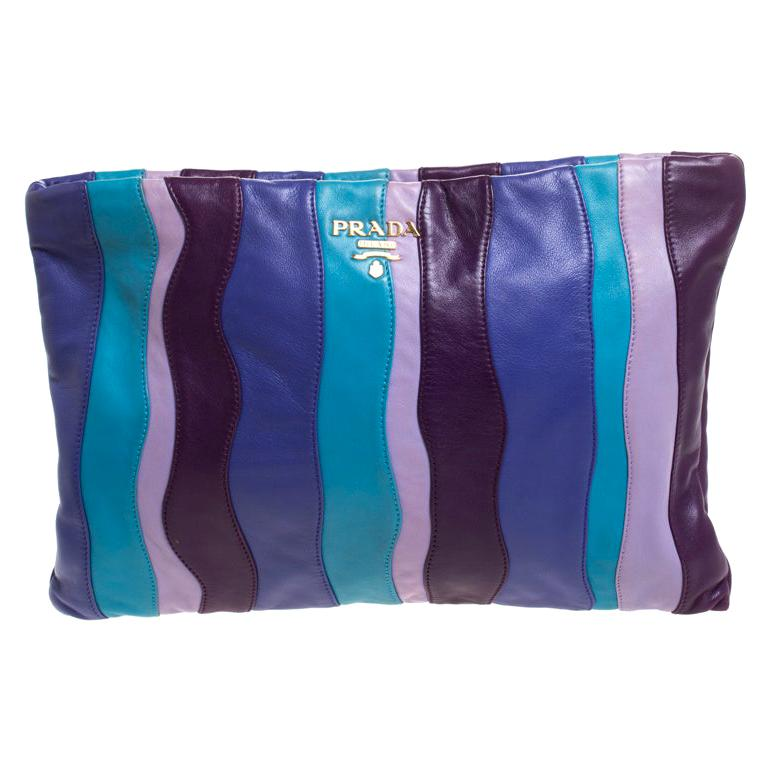 Multicolor Stripes Leather Zip Clutch For Sale