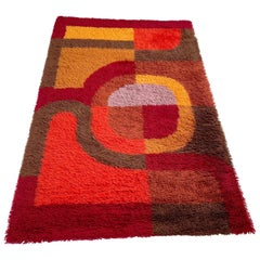 Multi-Color Vintage 1970s Modernist High Pile Panton Style Rug, Germany, 1970s