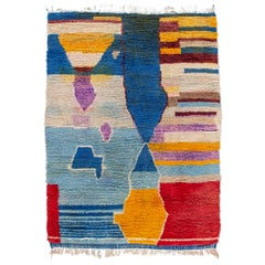 Multi-Color Vintage Beni Ourain Moroccan Wool Rug