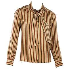 Multicolor Vintage Celine Striped Silk Blouse