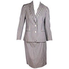 Multicolor Vintage Celine Striped Wool Skirt Suit Set