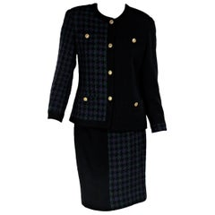 Multicolor Vintage Chanel Tweed Wool Skirt Suit Set