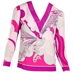 Multicolor Vintage Emilio Pucci Silk Printed Top