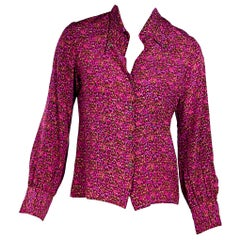 Multicolor Vintage Gucci Printed Silk Blouse
