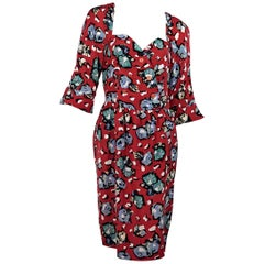 Multicolor Vintage Karl Lagerfeld Floral-Printed Silk Dress