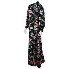 Multicolor Vintage Lanvin Floral Silk Top & Skirt Set