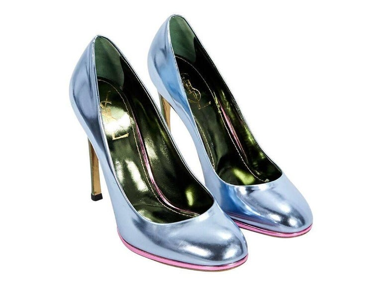 6a45b837386 Product details  Metallic blue leather pumps by Yves Saint Laurent. Green  metallic stiletto and