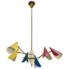 Multicolored 1950s Italian Chandelier