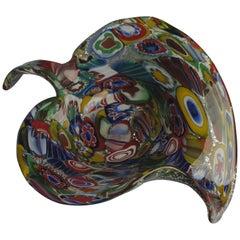 Multicolored 1950s Italian Millefiori Murano Glass Bowl