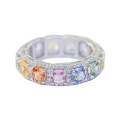 Multicolored 4.26 Carat Sapphires Eternity Band with .83 Carat Diamonds