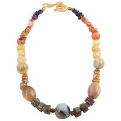 Multicolored Agate and Amethyst Bead Necklace